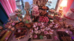 Decorative cakes for party venue.Steady Footage shot with dolly. - stock footage