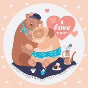 Couple of hugging bears Stock Illustration