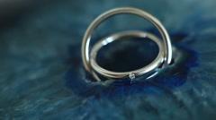 Macro shot of beautiful diamond wedding ring details - stock footage