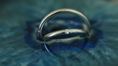 Macro shot of beautiful diamond wedding ring details Stock Footage