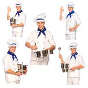 Smiling cook chef with kitchenware, set Stock Photos