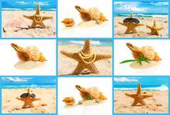 Spa concept with seashells, set - stock photo