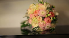 Bridal bouquet in an interior room, Bride's bouquet - stock footage