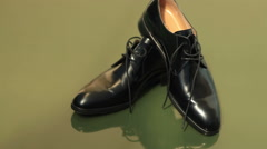 Groom black elegant shoes Stock Footage