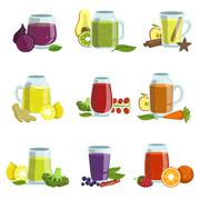 Fresh Smoothie Icon Set Stock Illustration