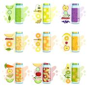 Smoothie Recipe Set Stock Illustration
