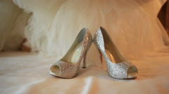 Dolly shot of Bride shoes on wedding day Stock Footage