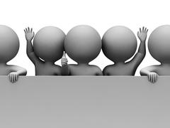 Copyspace Characters Indicates Placard Message And Illustration 3d Rendering - stock illustration