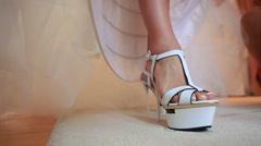 Bride dresses wedding shoes Stock Footage