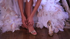 Bride dresses wedding shoes - stock footage