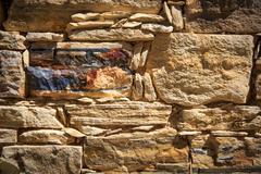stonework wall background - stock photo