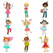Kids Celebration Set - stock illustration