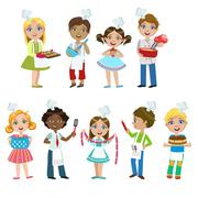 Kids On Cooking Lesson Stock Illustration