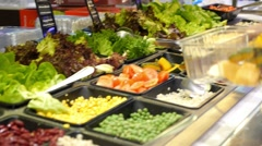 Woman Buying Food at Salad Bar. Healthy Lifestyle and Diet Stock Footage