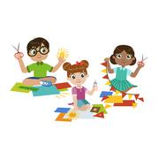 Kids Doing The Paper Craft - stock illustration