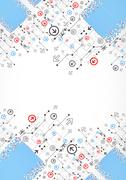 Abstract dotted technological background with various technological elements Stock Illustration