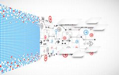 Abstract dotted technological background with various technological elements - stock illustration