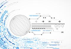 Abstract sphere technological background with various tech elements - stock illustration