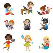 Kids With Gadgets Set - stock illustration