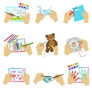 Hands Doing Different Crafts Stock Illustration