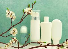 Spring composition with body care products - stock photo