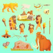 Life stone age Primitive man. Ice age - stock illustration