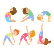 Kids Doing Simple Yoga Poses Stock Illustration
