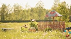 Rustic garden. Sunny summer day Stock Footage
