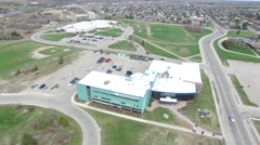 Aerial of College Boreal Campus in Timmins Ontario - stock footage