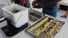 Fresh Oysters on the boat cruise - Namibia Stock Footage
