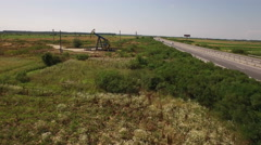 Aerial view of Oil Pump, Pumpjack Stock Footage