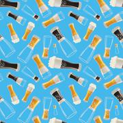 Many glasses with different soda on blue background, seamless pattern Stock Illustration