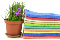 Spa concept with colorful towels and grass on white background - stock photo