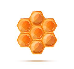 Bright glossy honeycomb with shadow on white Stock Illustration