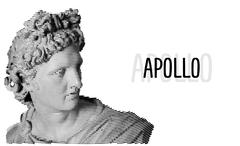 Apollo head antique sculpture engraving sketch - stock illustration