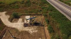 Aerial view of Oil Pump, Pumpjack Stock Footage