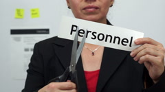 Businesswoman Cuts Personnel Concept - stock footage