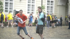 Lvov Lviv Lemberg Water Festival - teenagers poured water on each other Stock Footage