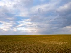 Plowed field and rain clouds Stock Photos