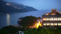 Stanley Beach harbour, Hong Kong Lighted Murray House ocean view night - stock footage