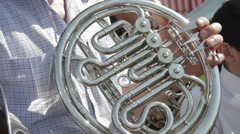 Musicians playing wind instruments - stock footage