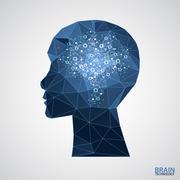 Creative brain concept background with triangular grid. - stock illustration