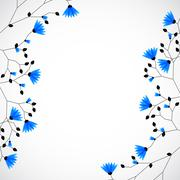 Abstract nature background tree with blue flowers. - stock illustration