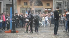 Lvov Lviv Lemberg Water Festival -teenagers poured water on each other Stock Footage