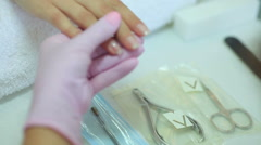 Manicure in spa salon, nails art painting. - stock footage