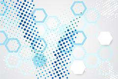 Abstract pattern points and hexagons. - stock illustration