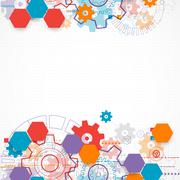 Abstract technological background with cogwheels. - stock illustration