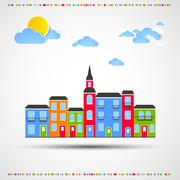 Funny city theme background with sun and clouds. Stock Illustration