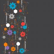 Abstract cogwheel technology net background. - stock illustration