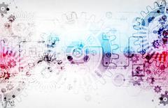 Scientific technical background scheme gears. Stock Illustration